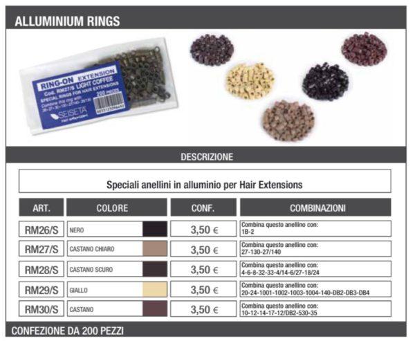 Anellini per extension in alluminio colorato